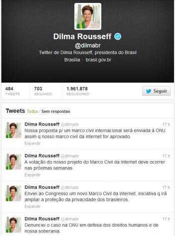 Dilma diz no Twitter que texto do Marco Civil da Internet será enviado à ONU