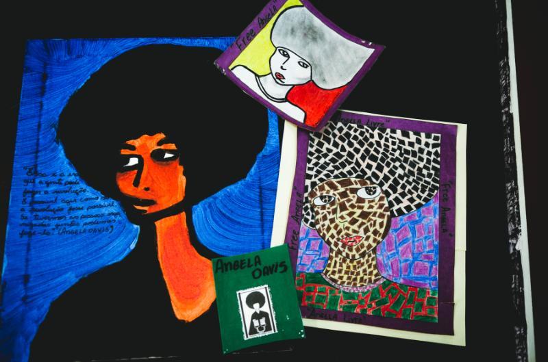 Ilustrações de Angela Davis feitas pela aluna Vanessa Lisboa