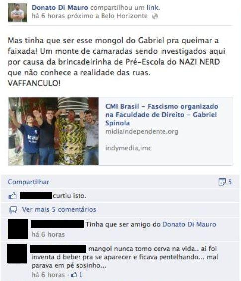 Postagem de Antonio Peret sobre Gabriel Spínola  (foto: Reprodução / Facebook)