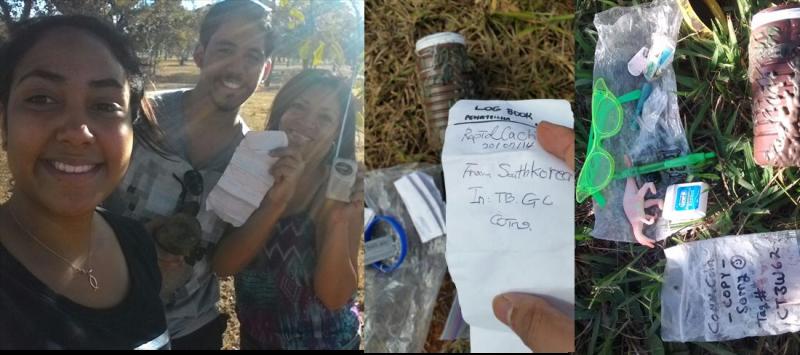 Trio de jovens mostra geocache achado no maior parque urbano do DF