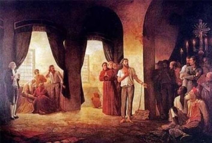 A leitura da sentença de Tiradentes. Pintura de Leopoldino Faria, 1921