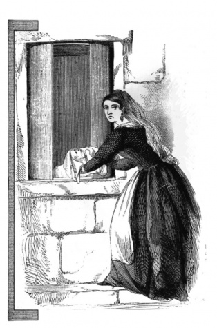 Desenho representa mulher abandonando uma criança na Roda dos Injeitados