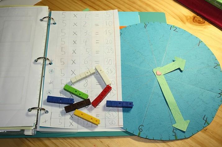 Caderno de matemática e relógio