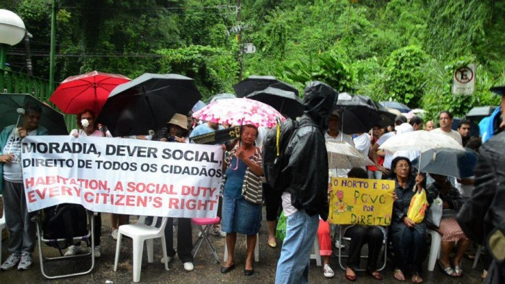 Moradores de comunidade do Horto, no Rio de Janeiro, protestam contra remoção