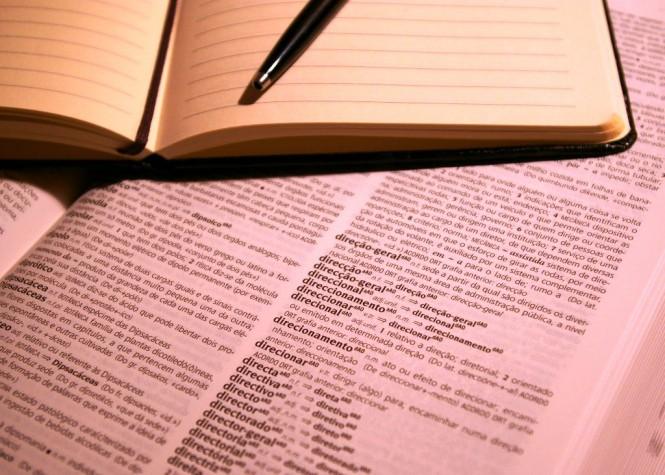 Bloco notas, esferográfica e dicionário