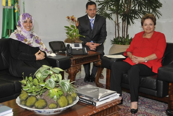 Presidenta Dilma Rousseff se encontra com Tawakkol Karman, Prêmio Nobel da Paz 2011, no Palácio do Planalto