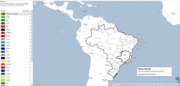 Mapa do Google que apresentará os resultados da apuração