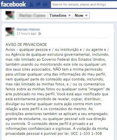 Hoax Facebook - aviso de privacidade