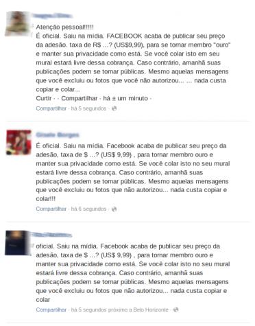 hoax mensagem facebook
