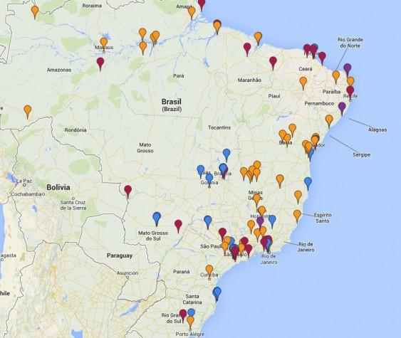 Caindo no Brasil - mapa colaborativo