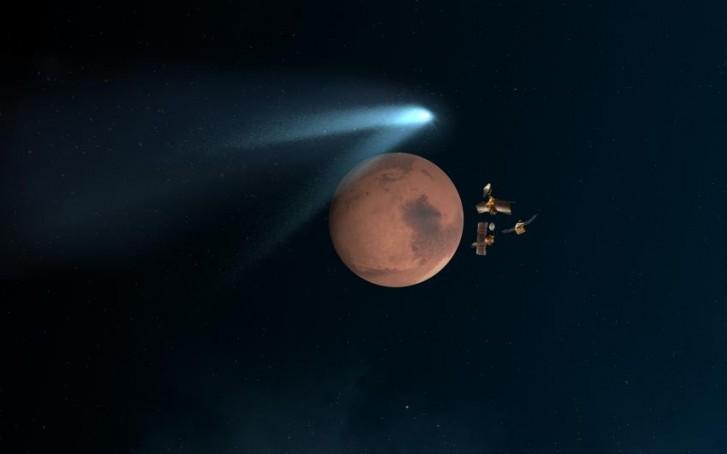 Cometa passa raspando por Marte