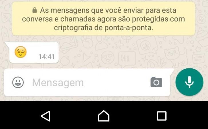 Mensagem criptografada no WhatsApp