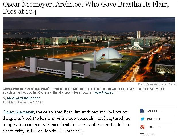 Repercussão da morte de Niemeyer no New York Times