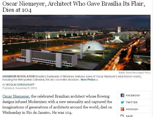 Repercussão da morte de Niemeyer no New York Times