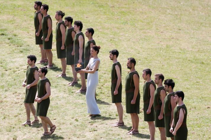 Ensaio da cerimônia de acendimento da tocha olímpica