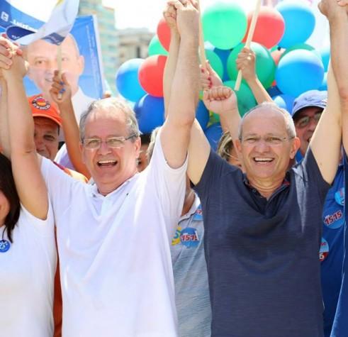 Paulo Hartung (PMDB) candidato ao governo do Espírito Santo e o vice da chapa César Colnagovice (PSDB)