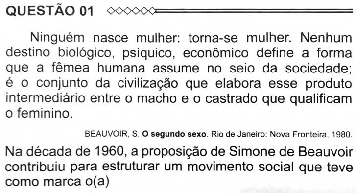 Questão Enem 2015 - Simone de Beauvoir