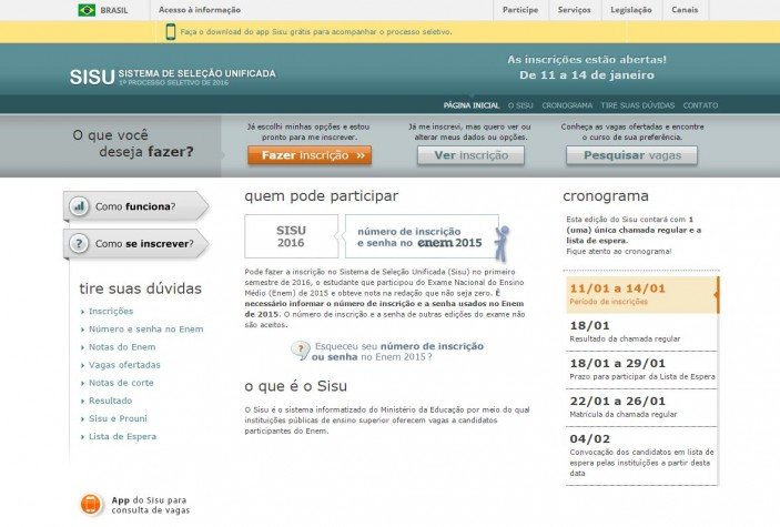 """Página inicial do Sisu: Ao clicar em """"Fazer inscrição"""", você terá acesso à página de login"""