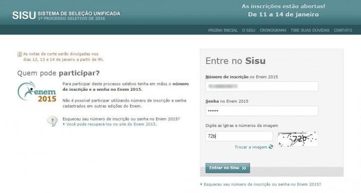 Página de acesso ao Sisu: basta preencher com o número de inscrição e senha