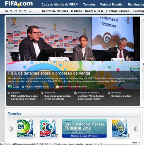 Site da Fifa - venda de ingressos para a copa