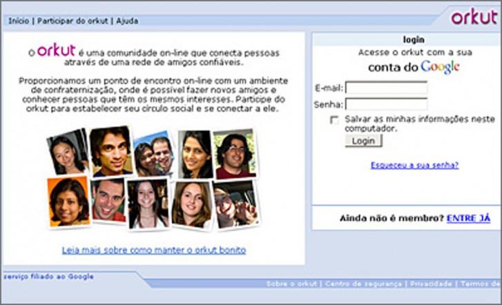 Tela antiga do Orkut
