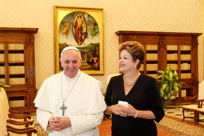 Dilma Roussef e o papa Francisco