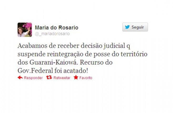 Pelo Twitter, Maria do Rosário anuncia suspensão da retirada dos Guarani Kaiowá