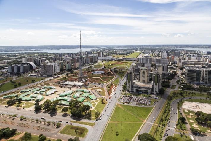 Vista aérea de Brasília - Eixo Monumental